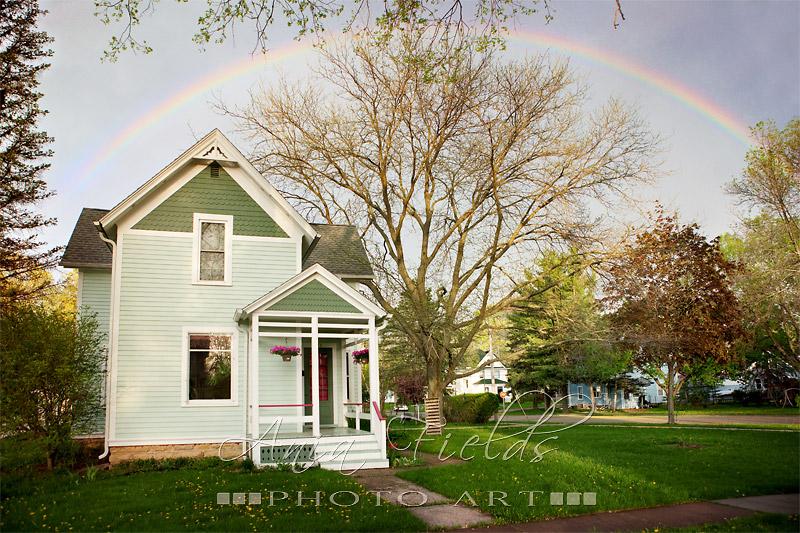 rainbow over the house