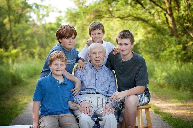 grandpa with grandsons photo idea