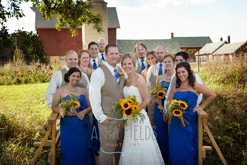 bridal party photos on a farm