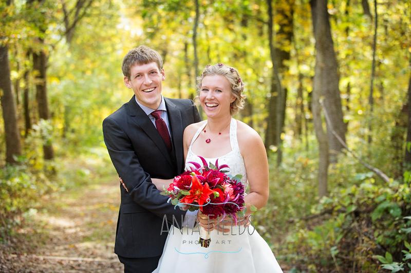 fall bride and groom portraits