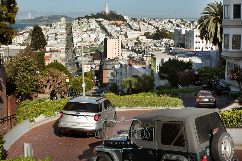 driving Lombard Street in San Francisco
