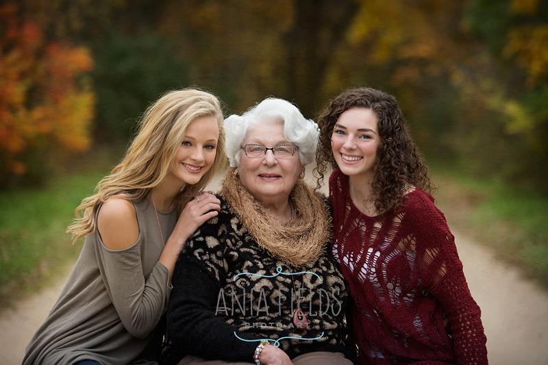 granddaughters and grandma portrait