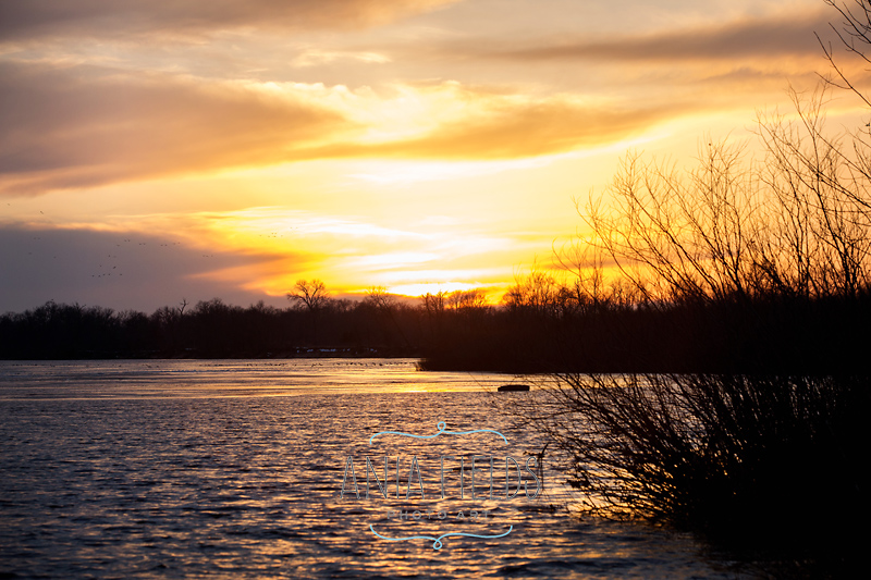 sunset on Wisconsin River